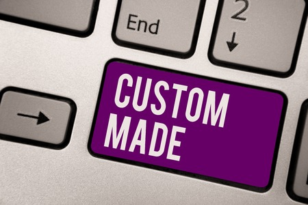 Conceptual hand writing showing Custom Made. Business photo showcasing something is done to order for particular customer organization Keyboard purple key computer computing reflection document