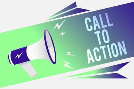 Foto de Word writing text Call To Action. Business concept for Encourage Decision Move to advance Successful strategy Megaphone loudspeaker speech bubble important message speaking out loud - Imagen libre de derechos