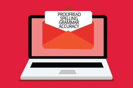 Writing note showing Proofread Spelling Grammar Accuracy. Business photo showcasing Grammatically correct Avoid mistakes Computer receiving email important message envelope with paper virtual