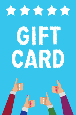Men and women's hands showing thumbs up to five star gift card text on blue background
