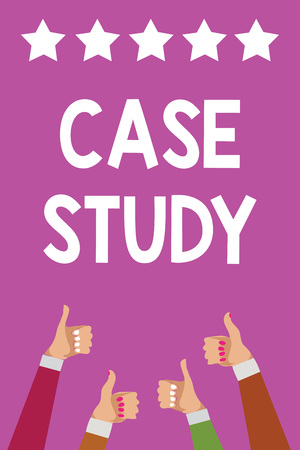 Handwriting text Case Study. Concept meaning A subject matter to be discussed and related to the topic Men women hands thumbs up approval five stars information purple background