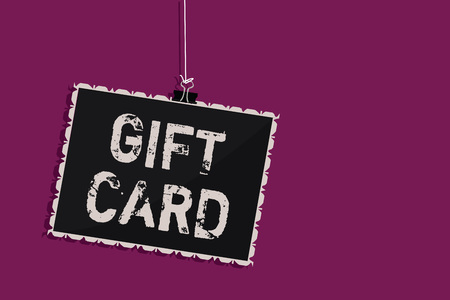 Hanging blackboard with Gift card message