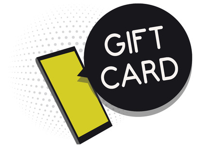 Cell phone receiving message showing gift card text