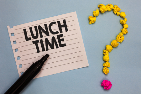 Word writing text Lunch Time. Business concept for Meal in the middle of the day after breakfast and before dinner Paper marker crumpled papers forming question mark wooden background