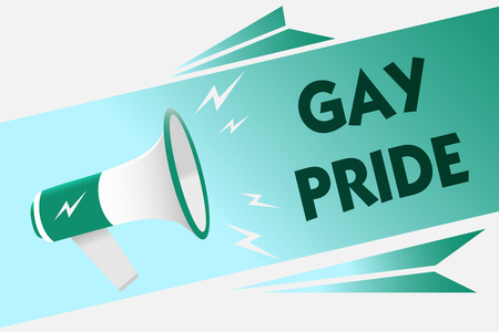 Conceptual hand writing showing Gay Pride. Business photo showcasing Dignity of an idividual that belongs to either a man or woman Megaphone loudspeaker speech bubble message speaking loud