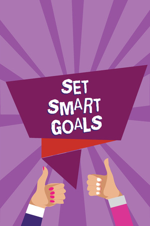 Word writing text Set Smart Goals. Business concept for Establish achievable objectives Make good business plans Man woman hands thumbs up approval speech bubble origami rays background