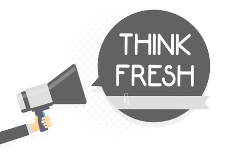 Photo pour Word writing text Think Fresh. Business concept for Thinking on natural ingredients Positive good environment Man holding megaphone loudspeaker gray speech bubble white background - image libre de droit