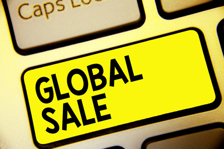 Text sign showing Global Sale. Conceptual photo managers operations for companies do business internationally Keyboard yellow key Intention create computer computing reflection document