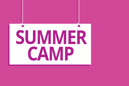 Text sign showing Summer Camp. Conceptual photo Supervised program for kids and teenagers during summertime. Hanging board message communication open close sign purple background