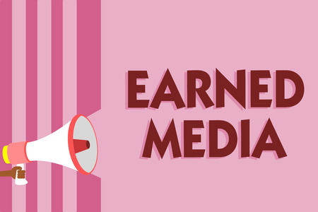Word writing text Earned Media. Business concept for Publicity gained through promotional efforts by multimedia Megaphone loudspeaker pink stripes important message speaking out loud