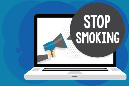 Writing note showing Stop Smoking. Business photo showcasing Discontinuing or stopping the use of tobacco addiction Man hold Megaphone loudspeaker computer screen talking speech bubble