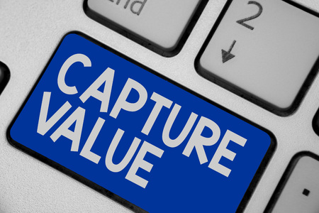 Photo for Writing note showing Capture Value. Business photo showcasing Customer Relationship Satisfy Needs Brand Strength Retention Keyboard blue key Intention computer computing reflection document - Royalty Free Image