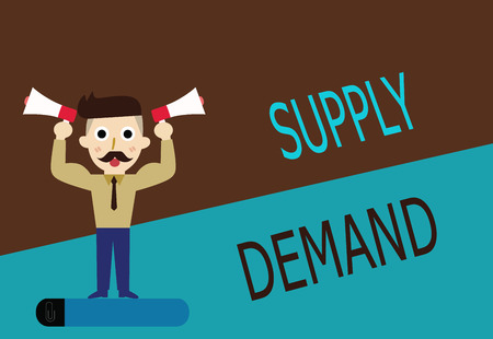Conceptual hand writing showing Supply Demand. Business photo text Relationship between the amounts available and wanted.