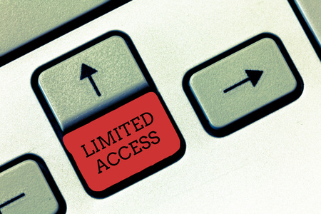 Conceptual hand writing showing Limited Access. Business photo text Having access restricted to a quite small number of points.