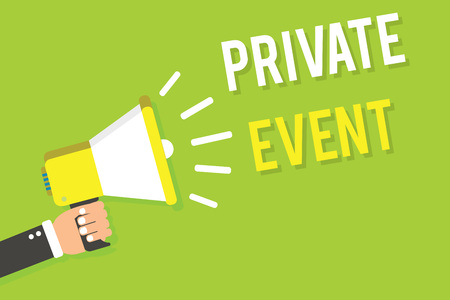 Conceptual hand writing showing Private Event. Business photo text Exclusive Reservations RSVP Invitational Seated Man holding megaphone loudspeaker green background speaking loud