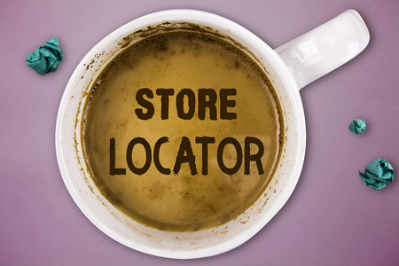 Writing note showing Store Locator. Business photo showcasing to know the address contact number and operating hours.