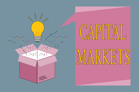 Conceptual hand writing showing Capital Markets. Business photo showcasing Allow businesses to raise funds by providing market security.