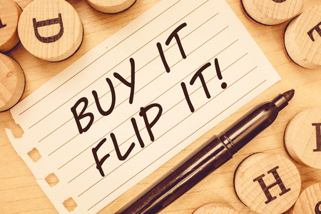 Word writing text Buy It Flip It. Business concept for Buy something fix them up then sell them for more profit.