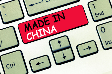 Word writing text Made In China. Business concept for Wholesale Industry Marketplace Global Trade Asian Commerce.の写真素材