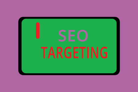 Writing note showing Seo Targeting. Business photo showcasing Specific Keywords for Location Landing Page Top Domain.