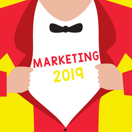 Writing note showing Marketing 2019. Business photo showcasing Commercial trends for 2019 New Year promotional event.