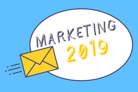Handwriting text Marketing 2019. Concept meaning Commercial trends for 2019 New Year promotional event.