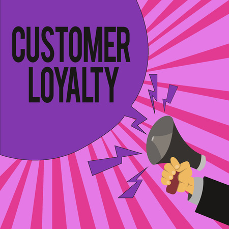 Handwriting text writing Customer Loyalty. Concept meaning result of consistently positive emotional experience.
