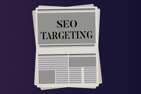 Word writing text Seo Targeting. Business concept for Specific Keywords for Location Landing Page Top Domain.