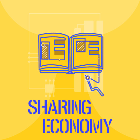 Word writing text Sharing Economy. Business concept for economic model based on providing access to goods .