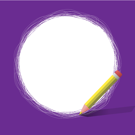 Flat design business Vector Illustration Empty copy space for Ad website promotion esp isolated Banner template. Freehand Scribbling of circular lines Using Pencil on White Solid Circle