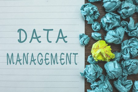 Conceptual hand writing showing Data Management. Business photo text The practice of organizing and maintaining data processes.