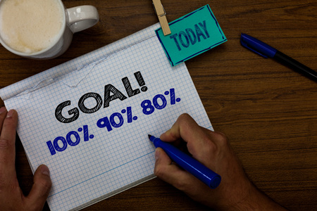 Photo pour Writing note showing Goal 100 90 80. Business photo showcasing Percentage of your objectives fulfilment success level Hand hold pen coffee cup blue pen paper clip stick on woody table - image libre de droit
