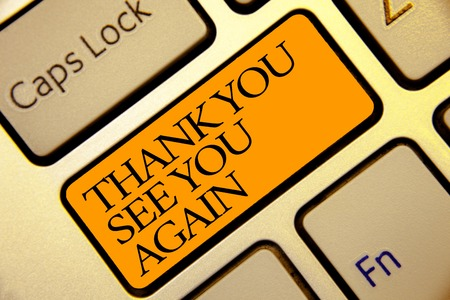 Photo pour Conceptual hand writing showing Thank You See You Again. Business photo text Appreciation Gratitude Thanks I will be back soon Golden grey computer keyboard with yellow button black color - image libre de droit