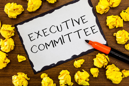 Writing note showing Executive Committee. Business photo showcasing Group of Directors appointed Has Authority in Decisions.
