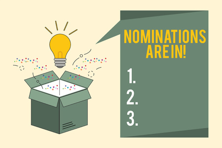 Word writing text Nominations Are In. Business concept for Formally Choosing someone Official Candidate for an Award.