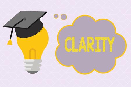 Photo pour Text sign showing Clarity. Conceptual photo Being coherent intelligible Understandable Clear ideas Precision. - image libre de droit