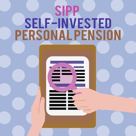 Text sign showing Sipp Self Invested Personal Pension. Conceptual photo Preparing the future Save while young.