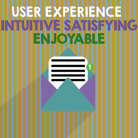 Word writing text User Experience Intuitive Satisfying Enjoyable. Business concept for Customer feedback checklist.