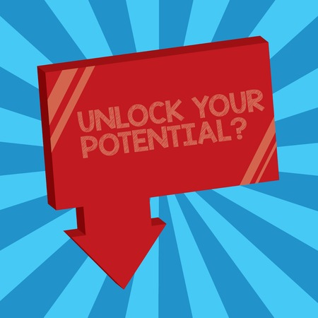 Writing note showing Unlock Your Potential question. Business photo showcasing Maximize your Ability Use God given gift.
