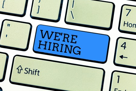 Handwriting text writing We re are hiring. Concept meaning Job vacancy Manpower polling Recruiting Available position.