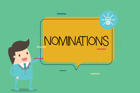 Foto de Writing note showing Nominations. Business photo showcasing Suggestions of someone or something for a job position or prize. - Imagen libre de derechos