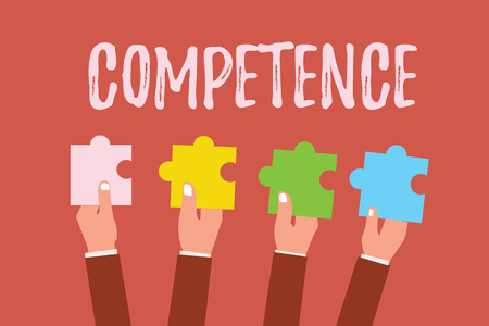 Photo pour Writing note showing Competence. Business photo showcasing Knowledge Ability to do something successfully efficiently. - image libre de droit