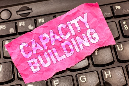 Photo pour Writing note showing Capacity Building. Business photo showcasing Strengthen the abilities of individuals Workforce planning. - image libre de droit