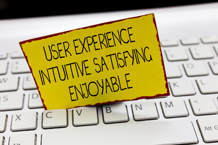 Handwriting text writing User Experience Intuitive Satisfying Enjoyable. Concept meaning Customer feedback checklist.