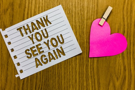 Photo pour Conceptual hand writing showing Thank You See You Again. Business photo showcasing Appreciation Gratitude Thanks I will be back soon Yellow woody deck word with white page paper clip grip heart - image libre de droit