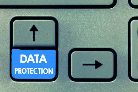 Foto de Writing note showing Data Protection. Business photo showcasing Protect IP addresses and personal data from harmful software. - Imagen libre de derechos