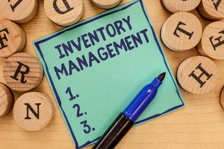 Handwriting text Inventory Management. Concept meaning Overseeing Controlling Storage of Stocks and Prices.