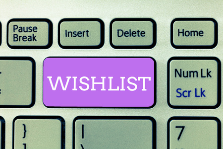 Writing note showing Wishlist. Business photo showcasing List of desired but often realistically unobtainable items.