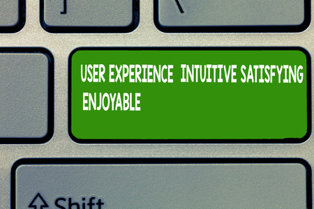 Text sign showing User Experience Intuitive Satisfying Enjoyable. Conceptual photo Customer feedback checklist.