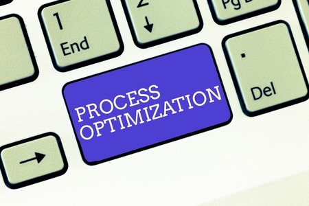 Writing note showing Process Optimization. Business photo showcasing Improve Organizations Efficiency Maximize Throughput.